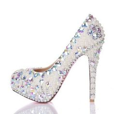 Color crystal women wedding shoes Pumps Heels Shoes Thin with