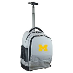 NCAA Michigan Wolverines Grey Premium Wheeled Backpack
