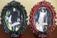 Frankenstein's Monster and Bride of Frankenstein Mini Table Top Frame Set  I think this would work well to label your tables in frames like these. We can order them in gold and spray them as needed.