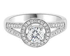 Split Band Diamond Engagement Ring VR1019 with a halo of diamonds surrounding a round brilliant cut centre diamond in 18k white gold.