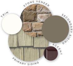 Mastic color palette, honed vitality, quest vinyl siding, cedar discovery vinyl shake siding, raised panel shutters, designer accents, trim, cut cobblestone stone veneer, coordinating colors