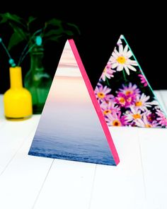 DIY Neon Triangle Photo Frames   Cutie Pie Press  cutiepiepress.com  These are the cutest things for any room, just style it to suit your space!