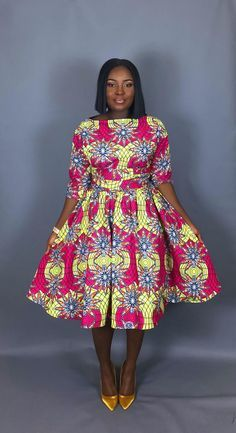 NEW IN:Vintage style African print tea length dress,clothingwomen's clothing,cocktail dress,dresses, Short African Dresses, Latest African Fashion Dresses, African Print Dresses, African Print Fashion, Ankara Fashion, Latest Outfits, Ankara Styles For Women, Latest Ankara Styles, African Attire