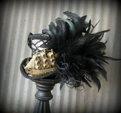 Black Lace Pirate Ship Mini Top Hat, Mad hatter Hat, Alice in Wonderland Mini Top Hat, Tall Ship, Tea Party, Mad Hatter Hat, Steampunk hat