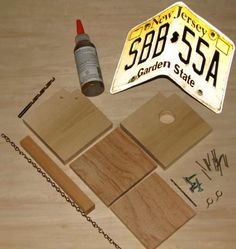 """supplies for a """"build your own"""" license plate bird house"""
