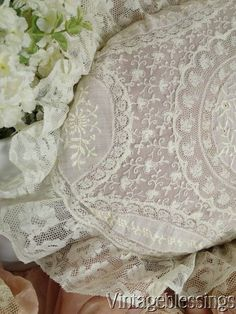 Sumptuous ANTIQUE French Normandy LACE Down Filled OVAL PILLOW