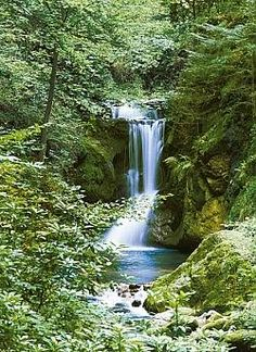 Waterfall in Spring Huge Wall Mural Art Print Poster , Cool Pictures Of Nature, Nature Photos, Beautiful Pictures, Waterfall Photo, Waterfall Fountain, Les Cascades, Spring Photos, Mural Wall Art, Beautiful Waterfalls