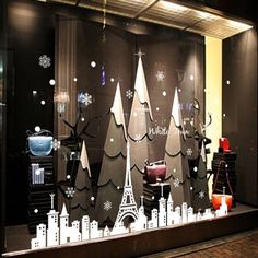 Amazon.com - 2016 - New Year Snowflake Tower and Town Christmas Party Wall Stickers Shop Window Stickers Decorative Glass Door Sticker Decorations (1) -