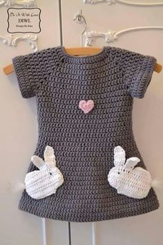 Baby Knitting Pattern Crochet Pattern Dress Love Bunnies – Crochet Tutorials at Makerist Crochet Baby Clothes, Crochet Girls, Crochet For Kids, Baby Afghan Crochet, Crochet Baby Hats, Knit Crochet, Booties Crochet, Crochet Mandala, Knitted Baby