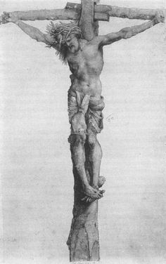 GRÜNEWALD, Matthias Crucifixion 1501-02 Black chalk on brownish paper, heightened with white, 531 x 320 mm Staatliche Kunsthalle, Karlsruhe