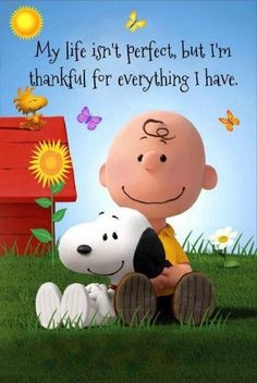 Snoopy and Charlie Brown thankful quote. Snoopy Love, Charlie Brown Und Snoopy, Snoopy And Woodstock, Snoopy Quotes Love, Charlie Brown Quotes, Snoopy Hug, Great Quotes, Inspirational Quotes, Motivational