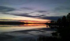 Sunset over Kalix river in Överkalix, Sweden Picture by Danuta Szalaiova