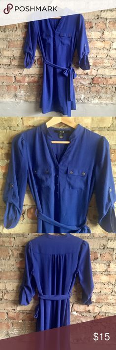 Forever 21 Shirt Dress Excellent in new condition dress. Size Small, lined with sash. Color is a vivid blue/ purple. Forever 21 Dresses
