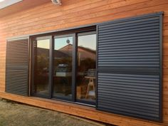 Mòduls: gliding shutters Exterior Blinds, Outdoor Shutters, Woodland House, Bohinj, Sliding Door Design, House Shutters, Grill Design, Facade Architecture, Tropical Houses