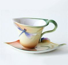 Dragonfly Cup and Saucer with Spoon