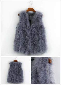 100% real ostrich feather waistcoat in Grey Size: S-M £35  *profit goes to London Graduate Fashion Week