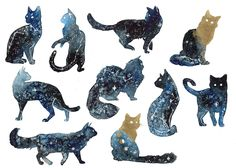 Galaxy Cats by ThreeLeaves.deviantart.com on @DeviantArt