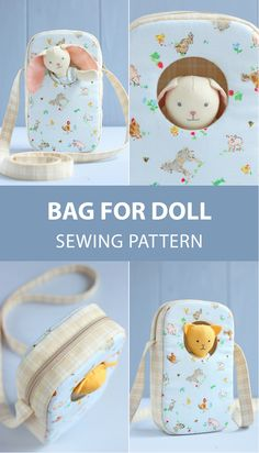 Travel bag for doll sewing pattern & tutorial. Now your little one can take along her mini soft doll for a walk or for a trip! Travel bag for doll sewing pattern & tutorial. Now your little one can take along her mini soft doll for a walk or for a trip! Sewing Projects For Beginners, Sewing Tutorials, Sewing Crafts, Sewing Tips, Sewing Hacks, Doll Sewing Patterns, Sewing Dolls, Pattern Sewing, Doll Carrier