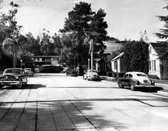 A lost residential neighborhood on Odin Street, circa 1954. It's now part of the Hollywood Bowl's parking lot. (LAPL 00041564) Bizarre Los Angeles