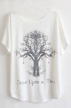 Once Upon a Time - T-Shirt. Tree has little red hearts hanging from the branches.