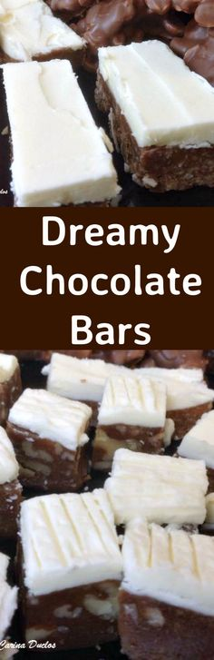 Dreamy Chocolate Bars. These are a lovely No Bake sweet treat and so popular! Easy to make, and perfect for snacks, parties and the holidays!   Lovefoodies.com