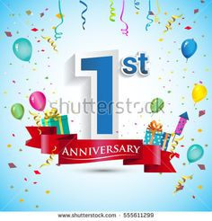 1st Year Anniversary Celebration Design, with gift box and balloons, Blue ribbon, Colorful Vector template elements for your first birthday celebrating party.