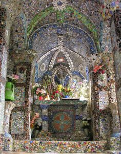 Little Chapel pique assiette mosaic interior - on the island of Guernsey
