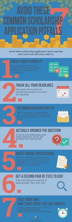 Need travel scholarship application help? This handy infographic walks you through the most common scholarship application mistakes so you can avoid them and. Grants For College, College Fund, College Planning, College Years, College Hacks, College Life, How To Find Scholarships, Scholarships For College, School Scholarship