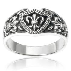 Vance Co. Sterling Silver Fleur-de-lis Ring | Overstock.com Shopping - The Best Deals on Sterling Silver Rings