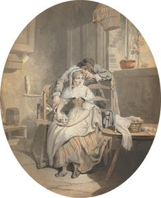 Francis Wheatley, 1747-1801, British, The Rustic Lover, 1786, Watercolor with black ink over graphite on medium, slightly textured, cream laid paper, Yale Center for British Art, Paul Mellon Collection