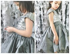 Gorgeous little dress for girls - free pattern. I love it the way its been made up here, but you could really make so many combinations of fabrics for this, or even just all one fabric. This pattern is a size 6 girls. - Grosgrain