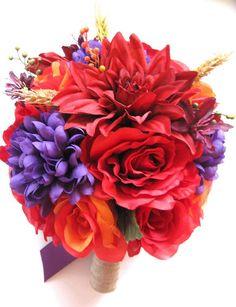 47 Ideas Flowers Wedding Bouquet Red Purple For 2019 Red Bouquet Wedding, Red Wedding Flowers, Purple Wedding, Dream Wedding, Corsage Wedding, Garden Wedding, Floral Wedding, Fall Wedding, Purple Mums