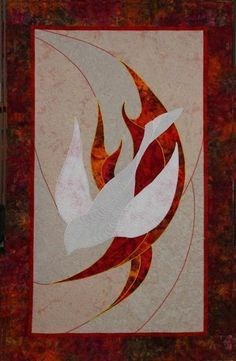 Pentecost banner - a different look with a neutral background Stained Glass Birds, Stained Glass Projects, Stained Glass Patterns, Church Banners Designs, Church Design, Première Communion, Altar Cloth, Bird Quilt, Altar Decorations
