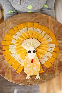 A Turkey Shaped Cheese Tray?!  I kind of want to do this for Thanksgiving.  Pinterest must be getting to me.