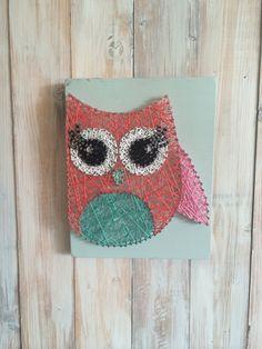 Owl String Art, Owl Decor, String Art, Girl's Room Decor, Nursery Decor, Owl Baby Shower, Owl Nursery, Cute Owls, Woodland Decor, Baby Gift by UrbanHoot on Etsy https://www.etsy.com/listing/268902371/owl-string-art-owl-decor-string-art