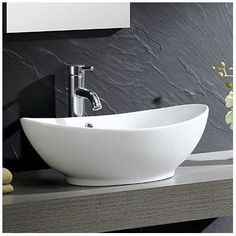 Fine Fixtures Modern Vitreous Oval Vessel Bathroom Sink with Overflow
