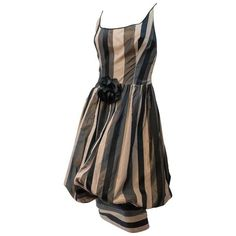 Preowned 80s Slik Stripe Balloon Dress ($445) ❤ liked on Polyvore featuring dresses, aesthetic day dresses, black, pre owned dresses, balloon dress, 1980s dress, preowned dresses and 80s inspired dresses