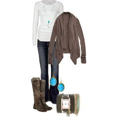 """""""Turquoise and Brown"""" by vintagesparkles78 on Polyvore"""