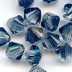 Crystal Montana Blend Swarovski Bicone Beads, 6mm, 20