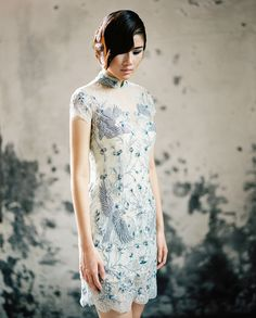 Short cheongsam dress with floral print and illusion neckline #qipao // East Meets West: Light and Airy Wedding Dresses from Cinobi with an Asian Touch