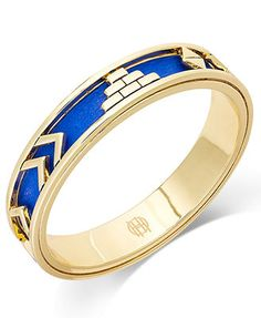 House of Harlow Gold-Tone Cobalt Leather Tribal Bangle Bracelet