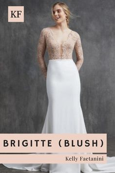 "Opt for this blushing beauty in a ""vintage rose"" lace or keep it classic with the ivory version. Either way, this elegant lace top wedding dress is traditional with a twist and can be paired with our ethereal organza skirt as a removable extra or as the official bridal gown silhouette. You'll love the pop of color and ""it girl"" vibe in this two tone wedding dress.Check out our ""FULL SLEEVE"" wedding dress selection. #weddingdress #weddingfashion #romanticbride Top Wedding Dresses, Formal Dresses, Crepe Skirts, Rose Lace, Ethereal, Wedding Styles, Bridal Gowns, Ball Gowns, Blush"