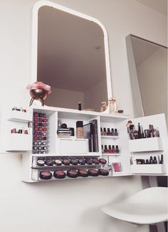 Wall Mounted Makeup Organizer Vanity by bleachla on Etsy https://www.etsy.com/listing/265830611/wall-mounted-makeup-organizer-vanity