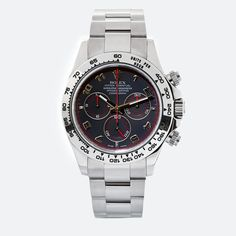 love this watch..  Gent's 18kt white gold Rolex Oyster Perpetual Daytona wristwatch. Integrated 18kt white gold Oyster bracelet. 40mm case diameter.