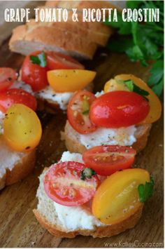 Healthy Food Options : theBERRY // Grape Tomato and Ricotta Crostini