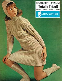 vintage bairnswear knitting pattern for ladies aran style jumper, cap, skirt and socks knitting pattern Dress With Stockings, Knit Stockings, Vogue Knitting, Knitting Magazine, Dress Hats, Sweater Skirt, Complete Outfits, Vintage Knitting, Retro Outfits