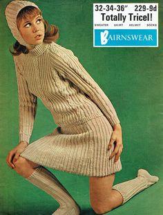 vintage bairnswear knitting pattern for ladies aran style jumper, cap, skirt and socks knitting pattern Roll Neck Sweater, Sweater Skirt, Aran Knitting Patterns, Crochet Patterns, Dress With Stockings, Vogue Knitting, Knitting Magazine, Dress Hats, Teenager Outfits