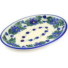 Polish Pottery 11-inch Oval Platter | Boleslawiec Stoneware | Polmedia H9468F | Polmedia
