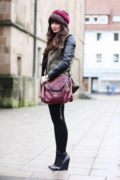 fashion hippie loves  parka. bag. head scarf
