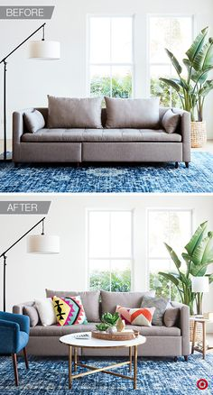 Transform your living room into a spring-inspired mix of classic and modern pieces. Choose a rug that will make your space feel larger—it should accommodate at least one side table, plus the sofa. And don't worry about making everything match, throw pillows are a great way to add pops of color and pattern, a mid-century modern chair adds personality and a marble coffee table ties everything together. Finish the space with large and small green plants for the perfect balance.